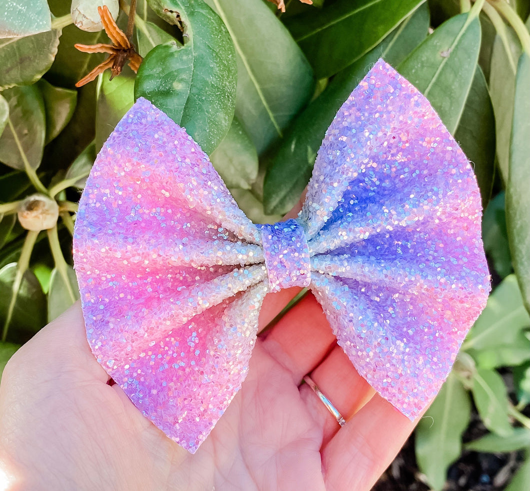 Magical Rainbows Striped Frosted Glitter Bow Headband | Hair Clip