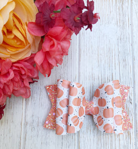 Fall Pumpkin Faux Leather Glitter Bow Headband | Hair Clip