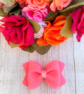 Scalloped Neon Coral Jelly Pool Bow Headband | Hair Clip