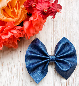 Pearlescent Navy Textured Faux Leather Bow Headband | Hair Clip