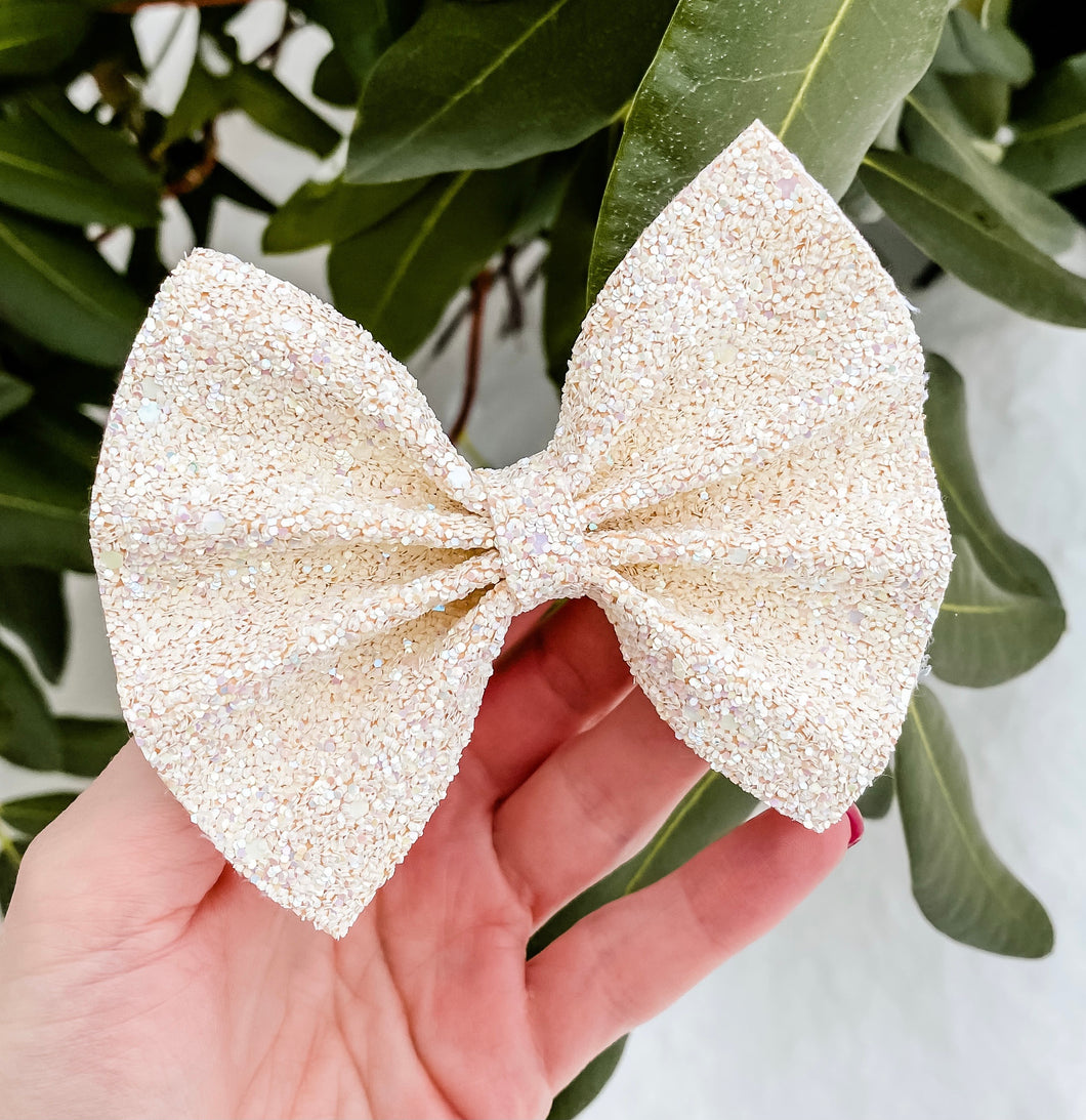 Beautiful Ivory Pearl Glitter Mix Bow Headband | Hair Clip