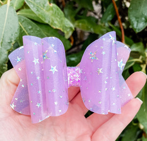 Lavender Purple Star Transparent Pool Bow Headband | Hair Clip
