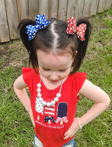 Red White Star Patriotic Glitter Bow Headband | Hair Clip