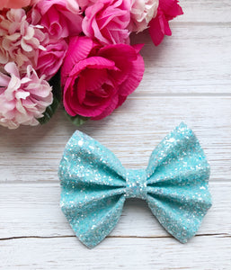 Frosted Baby Blue Glitter Bow Headband | Hair Clip