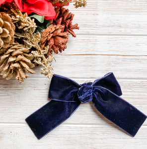Christmas Navy Velvet Ribbon Bow Headband | Hair Clip