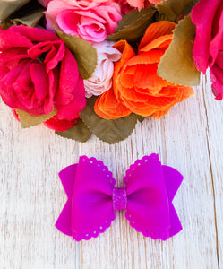Scalloped Neon Purple Jelly Pool Bow Headband | Hair Clip