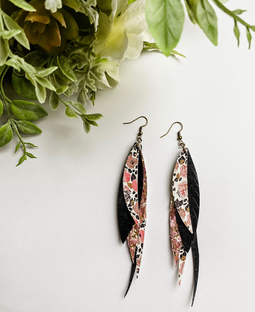 Leopard Floral Black Fringe Feather Glitter Faux Leather Earrings