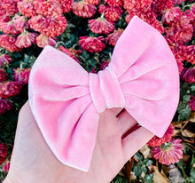 Baby Pink Velvet Fabric Bow Headband | Hair Clip