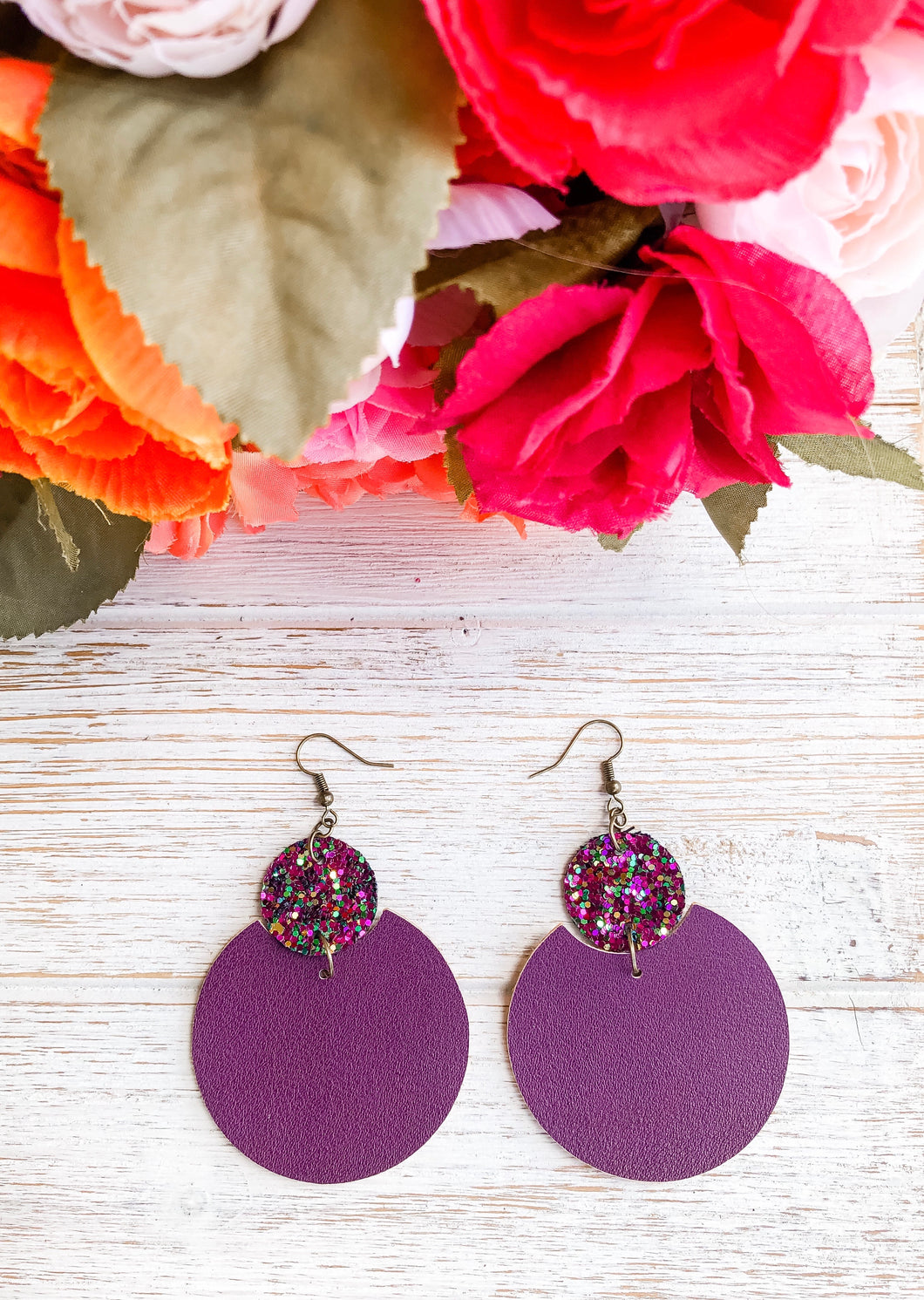 Eggplant Purple Faux Leather Glitter Earrings