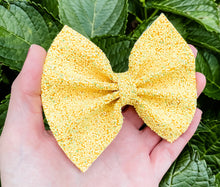 Fall Yellow Glitter Bow Headband | Hair Clip