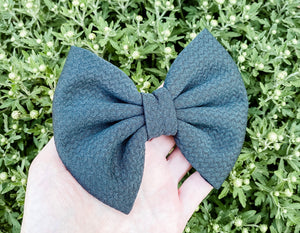 Charcoal Gray Liverpool Fabric Bow Headband | Hair Clip