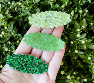 Scalloped Greens SET OF 3 Snap Clips