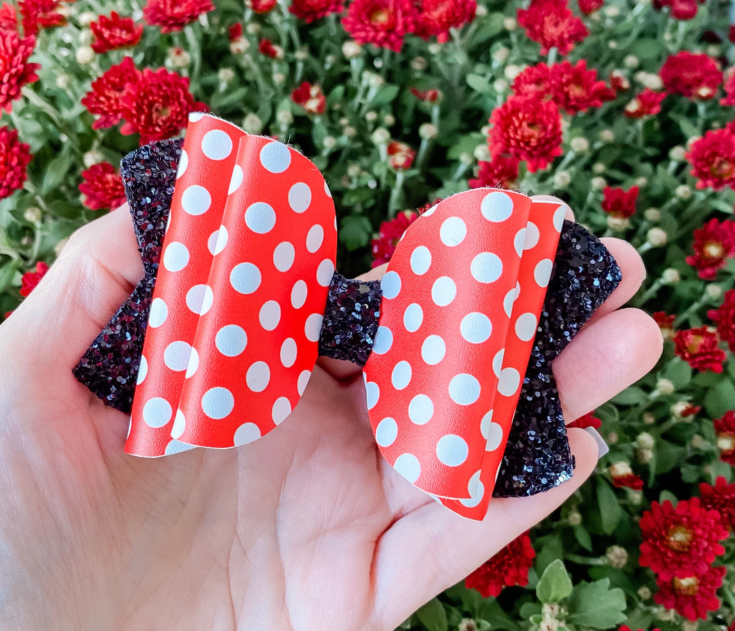 Red White Polka Dot Faux Leather Bow Headband | Hair Clip