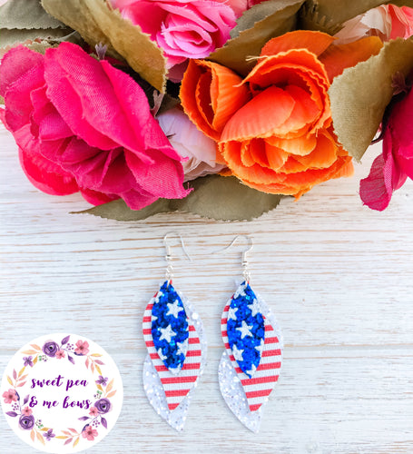 Patriotic American Flag Triple Layer Glitter Faux Leather Earrings