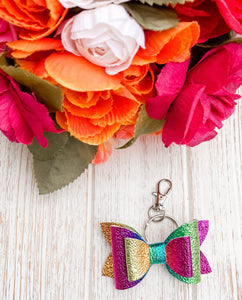 Rainbow Faux Leather Key Chain
