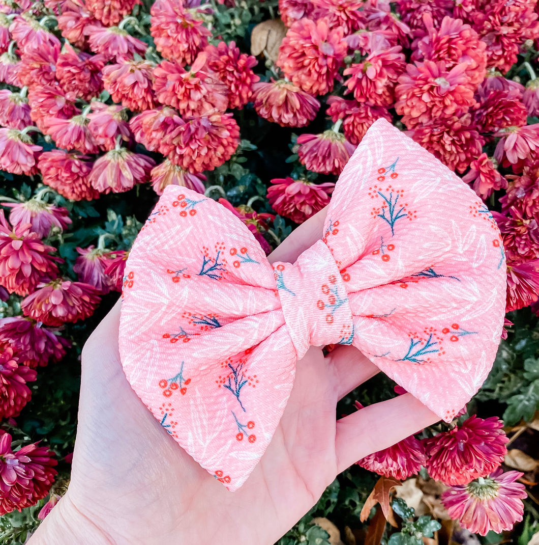 Winter Berries Fabric Liverpool Bow Headband | Hair Clip