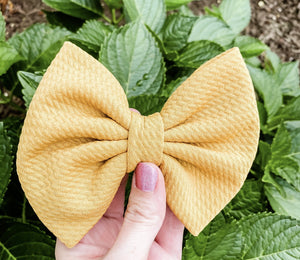 Mustard Gold Liverpool Fabric Bow Headband | Hair Clip