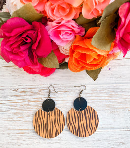Tiger Faux Leather Earrings