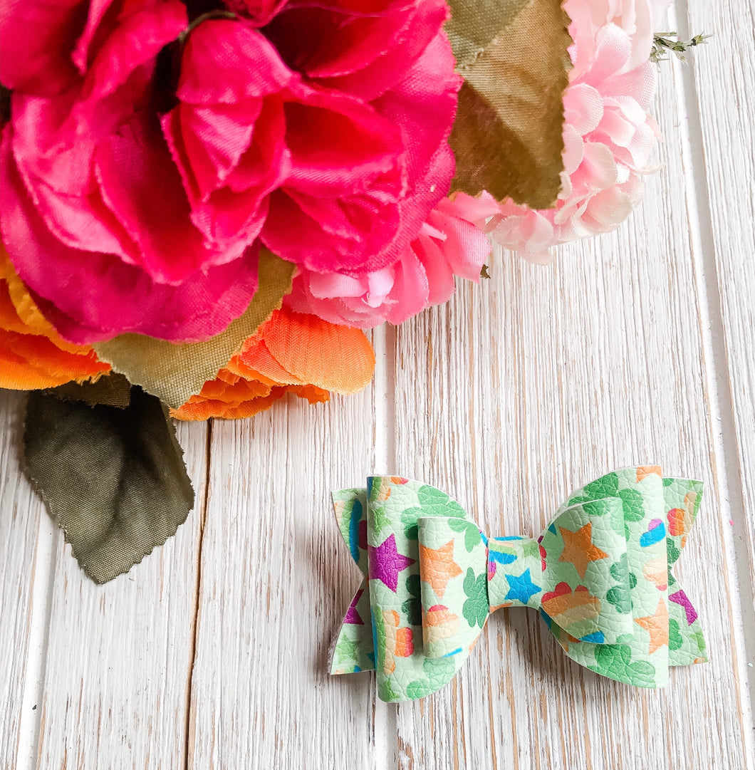 Newborn Mini Stacked Lucky Charm Shamrock Faux Leather Bow Headband | Hair Clip