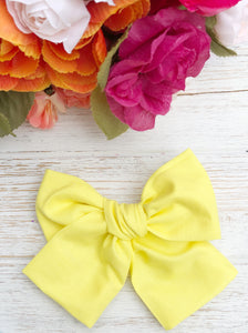 "Spring Yellow Hand Tied 4"" Fabric Bow Headband 