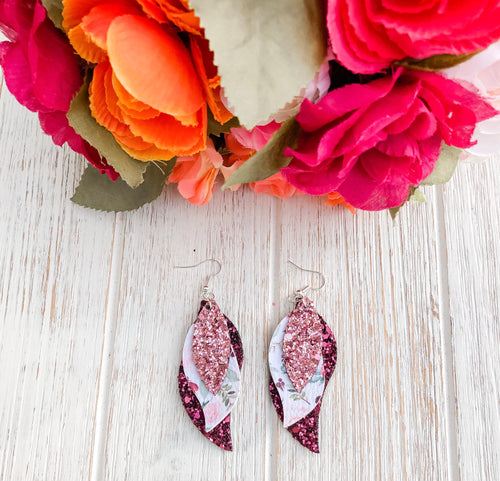 Burgundy Floral Triple Layer Glitter Faux Leather Earrings