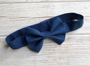 Navy Bow Tie Velcro Band/Clip