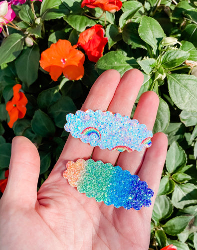 Scalloped Rainbow Cloud SET OF 2 Snap Clips