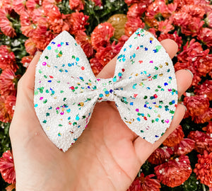 Winter Ice Queen Glitter Bow Headband | Hair Clip