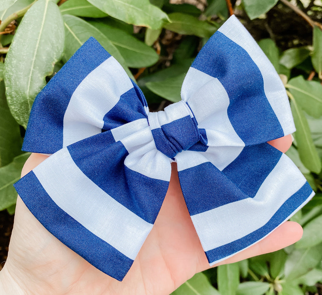 Blue Stripe Hand Tied Fabric Bow Headband | Hair Clip