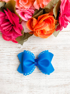 Scalloped Blue Jelly Pool Bow Headband | Hair Clip
