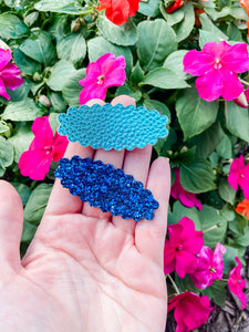 Scalloped Blues SET OF 2 Snap Clips