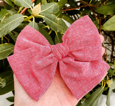 Sweet Red Hand Tied Fabric Bow Headband | Hair Clip