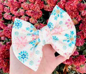 Snowflake Fabric Liverpool Bow Headband | Hair Clip