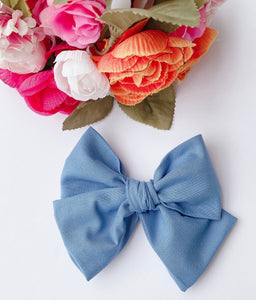 Delft Fabric Hand Tied Bow Headband | Hair Clip