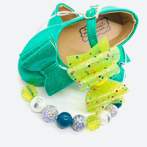 Neon Yellow Transparent Pool Glitter Bow Headband | Hair Clip
