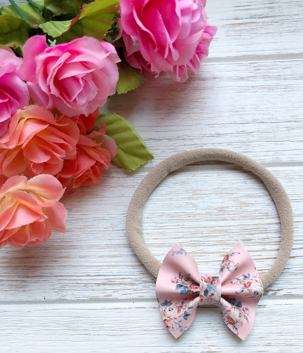 Newborn Floral Pink Faux Leather Bow Headband | Hair Clip