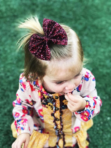 Fall Burgundy Chunky Glitter Bow Headband | Hair Clip