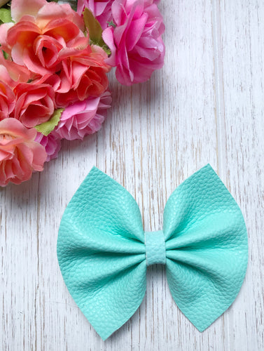 Spa Blue Textured Faux Leather Bow Headband | Hair Clip