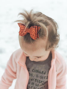Red Hot Glitter Bow Headband | Hair Clip
