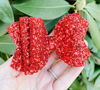 Scalloped Red Glitter Bow Headband | Hair Clip