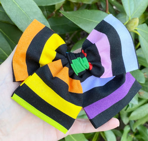 Back to School Neon Hand Tied Fabric Bow Headband | Hair Clip