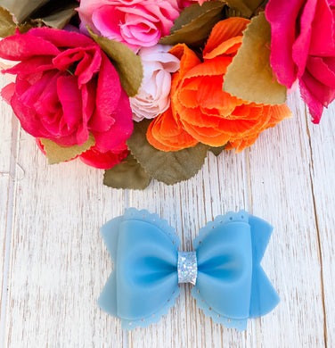 Scalloped Evening Blue Jelly Pool Bow Headband | Hair Clip