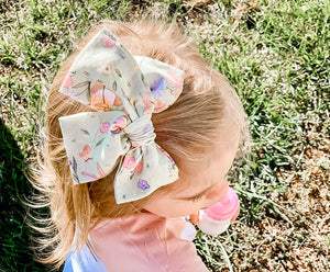 "Vintage Easter Bunnies Hand Tied 4"" Fabric Bow Headband 