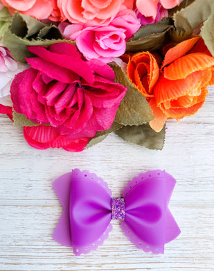 Scalloped Purple Jelly Pool Bow Headband | Hair Clip