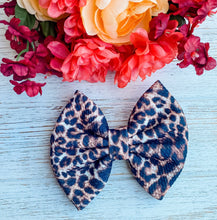 Leopard Liverpool Fabric Bow Headband | Hair Clip