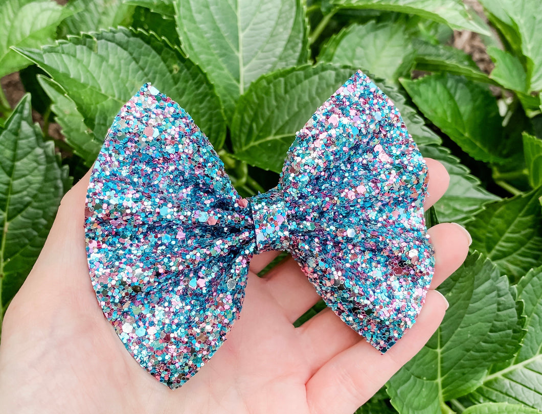 Violet Blue Smoothies Glitter Bow Headband | Hair Clip