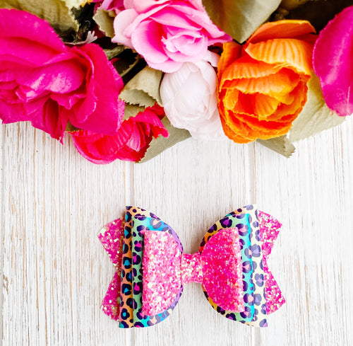 NEW Rainbow Leopard Faux Leather Glitter Bow Headband | Hair Clip