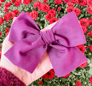 Fall Eggplant Purple Hand Tied Fabric Bow Headband | Hair Clip