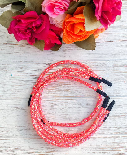 Star Bright Coral Glitter Headband