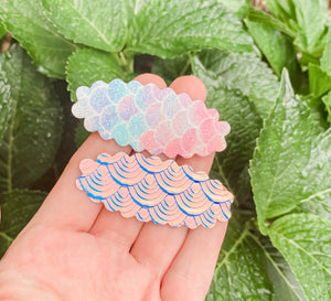 Scalloped Mermaid Scale  SET OF 2 Snap Clips
